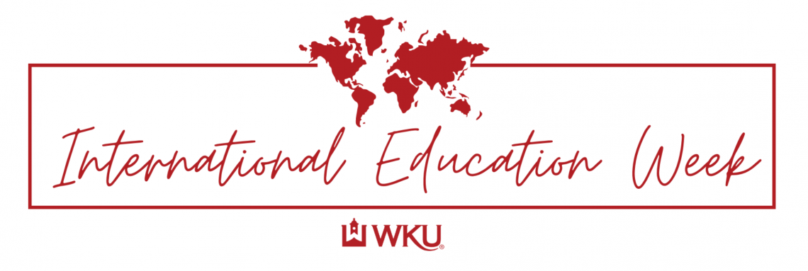 Text reads international education week WKU with a map icon